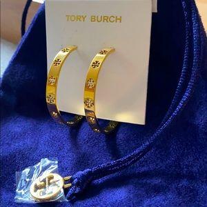 Tory Burch Pierced T Logo Hoop